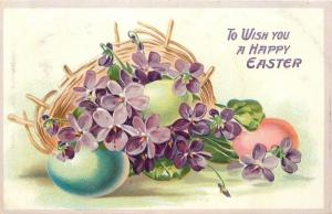 Easter~Violets & Purple Pansies Spill Out Of Nest~Pink Green Lime Eggs~Emb~TUCK