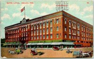 Vintage OMAHA, Nebraska Postcard HOTEL LOYAL Street Scene c1910s Unused