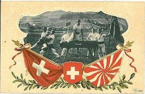 Ansichtskarten Schweiz VINTAGE POSTCARD: SWITZERLAND - TURNER: GYMNASTICS