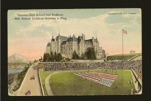 USA Postmark 1918 Tacoma Wash Tacoma High School Children Forming Flag Postcard