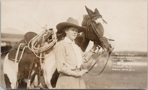Lucille Mulhall Calgary Stampede 1912 Woman Cowgirl Marcell 13 RPPC Postcard E67