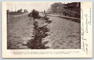 San Francisco CA~Street Fissure~Wagon in Deep Crack Along Cobblestones~1906 B&W