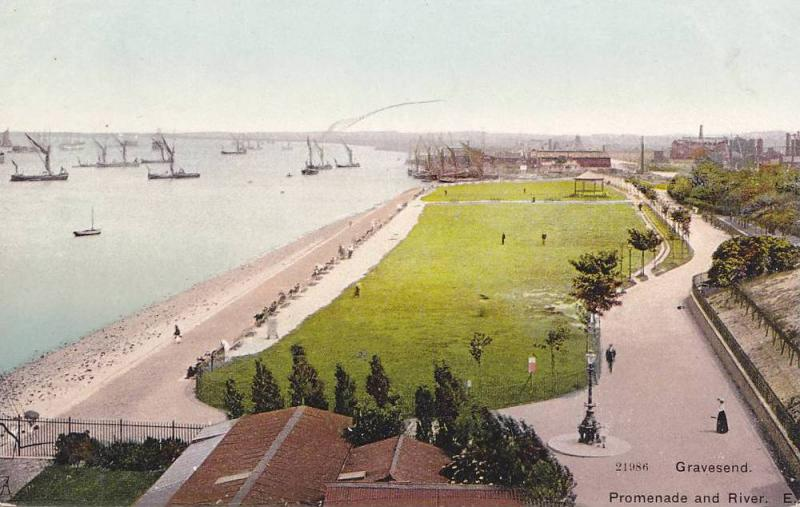 Ships, Promenade and River, Gravesend, England, UK, 1900-1910s