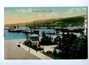 192096 ITALY TRIESTE Molo S.Carlo ships Vintage postcard