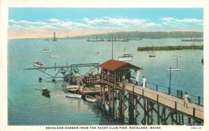 1920s Rockland Maine Harbor Yacht Club Pier American Teich postcard 6650