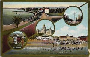 Durban South Africa Jim Rickshaw Town Hall West St. Beach Multiview Postcard E19