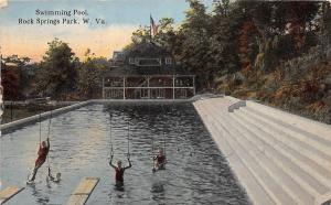 A22/ Chester Rock Springs West Virginia WV Postcard 1914 Pool Swings Park