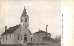 Ashton Iowa~Methodist Episcopal Church & Parsonage~1910 B&W Postcard