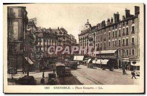 Old Postcard Grenoble Place Grenette