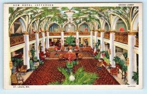 ST LOUIS, MO~ New HOTEL JEFFERSON Lobby c1940s Roadside  Linen Postcard