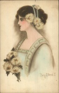 Beautiful Woman Flowers in Hair Hand Colored - Mary Connell c1910 Postcard