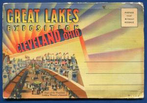 Great Lakes Exposition Cleveland Ohio oh old postcard folder foldout