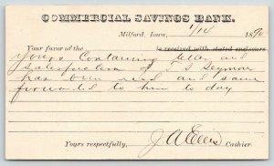 Milford IA~Commercial Savings Bank~Postal Receipt~1890~Osborne, Esq~Spirit Lake