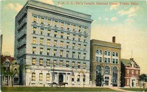 Toledo Ohio~Horse & Wagon @ YMCA~Elk's Temple~National Union~1910 Postcard