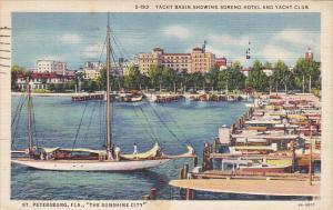 Yacht Basin Showing Soreno Hotel And Yacht Club St Petersburg 1936 Curteich F...