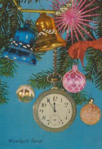 Poland Stopwatch Stopclock Clock Hanging On Tree Polish Happy Christmas Postcard