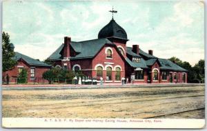 Arkansas City, Kansas Postcard AT&SF Railway Depot & Harvey Eating House 1908