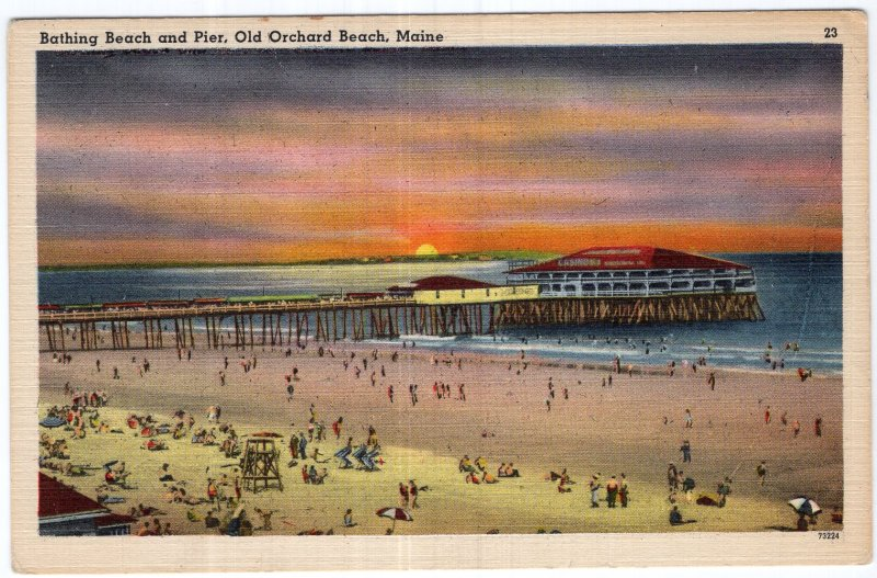 Old Orchard Beach, Maine, Bathing Beach and Pier