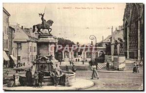 Old Postcard Nancy Place Saint Epvre Statue of Rene II Children