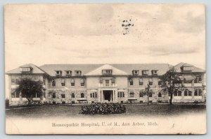 Ann Arbor Michigan~University of Michigan~Homeopathic Hospital~1908 B&W Postcard