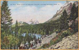 Glacier National Park, Mont., People on Horses on the Trail Going-To-The-Sun Cha