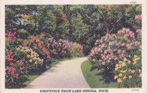 Flower Greetings from Lake Odessa MI, Michigan - Linen