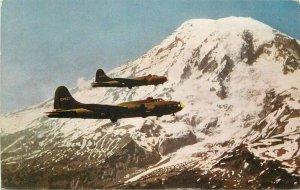 Aircraft Military Mt Rainier Washington Twin Fortresses #C111 Postcard 20-11642