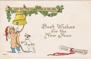 Best Wishes for the New Year, Angel ringing bell, Jack Russel dog barking and...