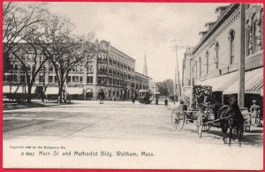 12754 Trolley & Horsecart, Main Street, Waltham, Massachusetts 1905