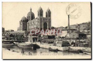 Old Postcard Marseille Cathedral and Canal Saint John