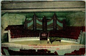 Orangeburg, South Carolina Postcard CONVERSE COLLEGE AUDITORIUM Pipe Organ 1914