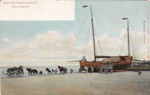 Netherlands Scheveningen Visscherspinken Fishing Scene sk3297