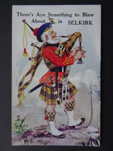 Scotland SELKIRK Novelty Postcard SOMETHING TO BLAW ABOUT c1920's by Valentine