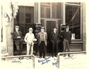 C.1910 RPPC Workers in Front of Farmers Bank, Mulvane, Kansas Postcard P131