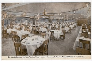 Chicago, Ill, The Interior of the North American Oyster House and Restaurant
