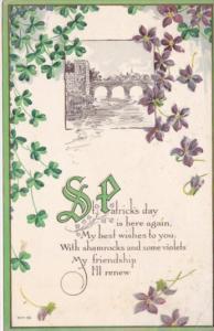 Saint Patrick's Day Landscape Scene and Shamrocks