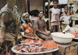 Anything You Like Dead Fish Ghana Market Scene Postcard
