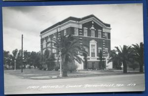 Raymondville Texas tx First Methodist Church real photo postcard RPPC