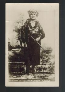 Mint Real Picture Postcard Native American Indian Chief Push B to Neke Qua