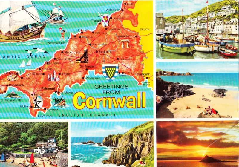 UK, Greetings from Cornwall, unused Postcard