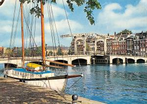 Netherlands Amsterdam Meagre Bridge across the Amstel Pont Maigre Boat