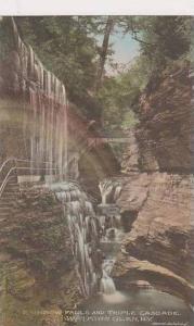 New York Watkins Rainbow Falls And Triple Cascade Albertype