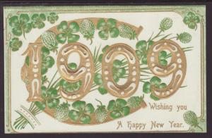 New Year,1909 Year Date,Horseshoe,Four Leaf Clover Postcard