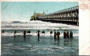 Long Beach CA pier Sun Pavillion men women swimming great bathing suits c1915