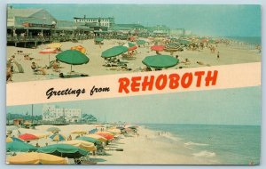 Postcard DE Banner Dual View Greetings From Rehoboth Vintage O10