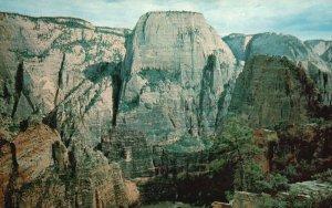 Zion National Park, Utah, UT, Great White Throne, Chrome Vintage Postcard g9250