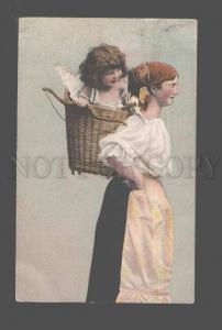 083538 RURAL Woman w/ NUDE Girl as CUPID Vintage PHOTO Color