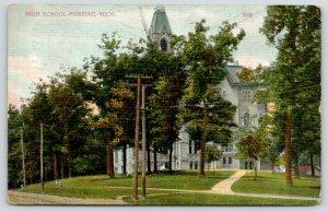 Pontiac Michigan~High School~Lots of Trees in Front~1909 Postcard