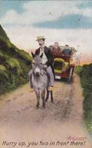 Bamforth Series 1122 Couple With Old Car Following Man On Donkey 1910