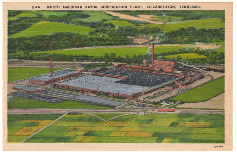 ELIZABETHTON TENNESSEE NORTH AMERICAN RAYON PLANT LINEN POSTCARD 1928-2000